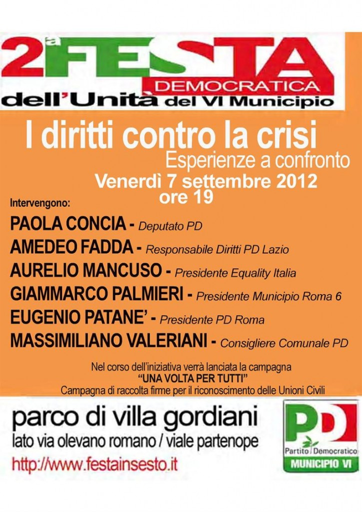 festa democratica VI municipio roma - 07-09-12