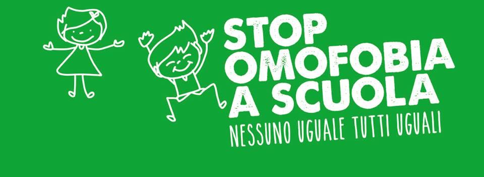 stop omofobia a scuala - fondo verde