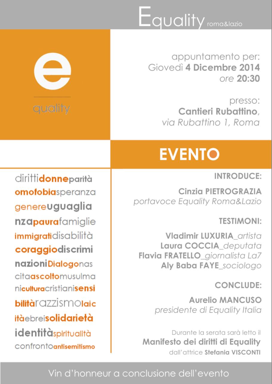 Evento Equality Italia Roma&Lazio il 4 dicembre 2014