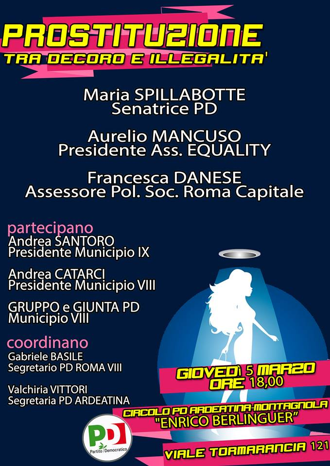 prostituzione - circolo PD Berlinguer - roma 5-03-15